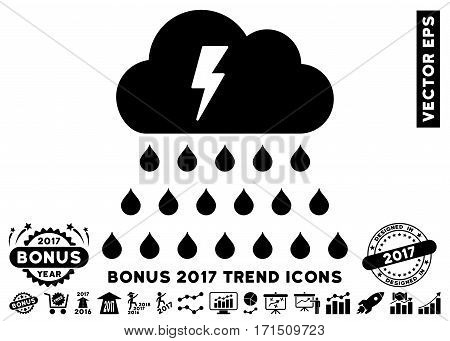 Black Thunderstorm Rain Cloud icon with bonus 2017 year trend pictograph collection. Vector illustration style is flat iconic symbols white background.