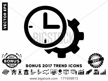 Black Time Setup Gear pictograph with bonus 2017 year trend symbols. Vector illustration style is flat iconic symbols white background.