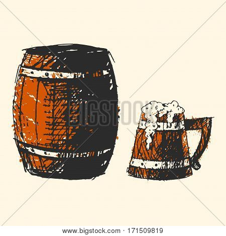 Creative craft beer barrel element. Vector illustration pub sketch. Hand drawing graphic objects used for advertising festival, beverage, brewery, bar and pub menu.