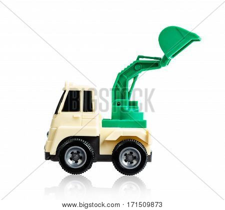 Modern excavator machines. Toy for kids isolated on white background Saved clipping path.