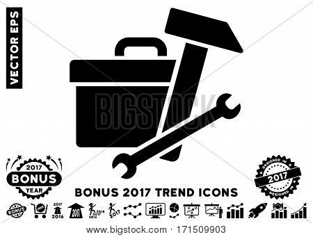 Black Toolbox pictogram with bonus 2017 year trend pictograms. Vector illustration style is flat iconic symbols white background.
