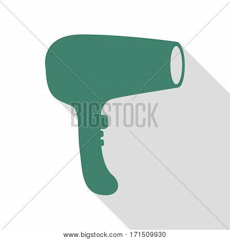 Hair Dryer sign. Veridian icon with flat style shadow path.