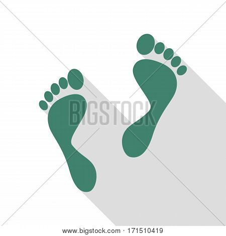 Foot prints sign. Veridian icon with flat style shadow path.