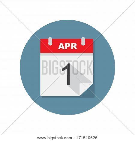 Apr 1 calendar icon. Vector illustration on circle blue background