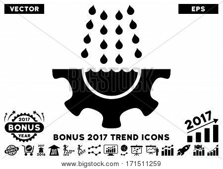 Black Water Shower Service Gear pictogram with bonus 2017 year trend pictograms. Vector illustration style is flat iconic symbols white background.