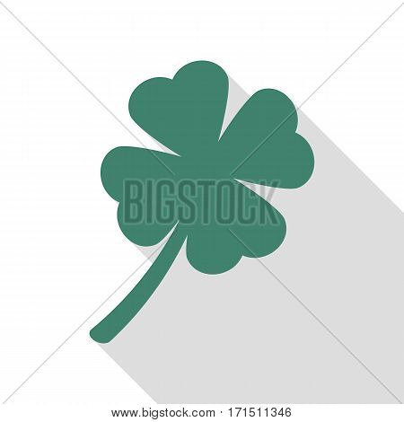 Leaf clover sign. Veridian icon with flat style shadow path.