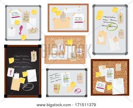 Sticker notes pined on board vector illustration isolated