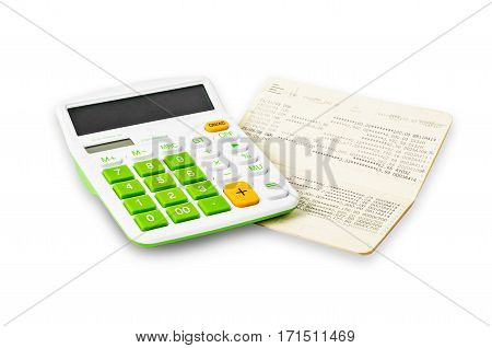 Calculator and saving account passbook isolated on white background Save clipping path.