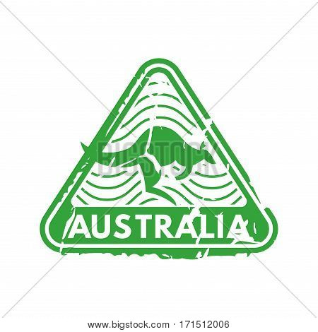Vector vintage postage australia mail stamp. Retro delivery envelope grunge print. Postmark design correspondence sign. Antique communication template texture.