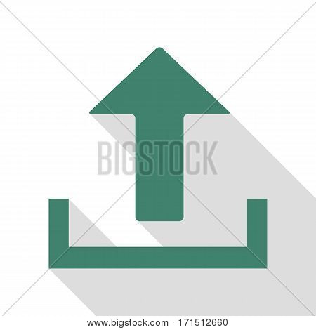 Upload sign illustration. Veridian icon with flat style shadow path.