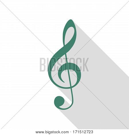 Music violin clef sign. G-clef. Treble clef. Veridian icon with flat style shadow path.