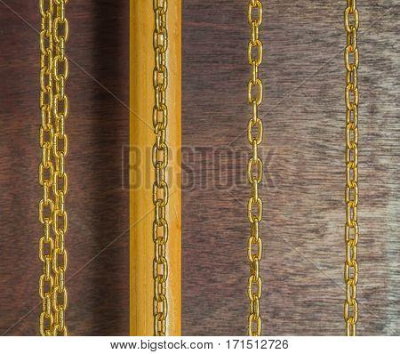 closeup golden chains of luxury pendulum clock