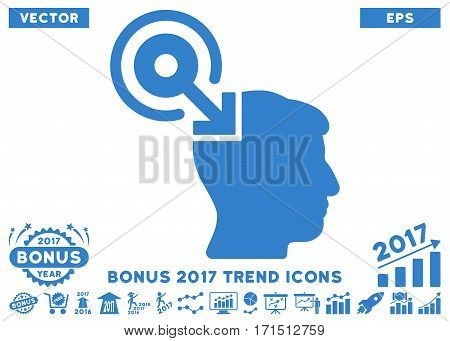 Cobalt Brain Interface Plug-In pictograph with bonus 2017 year trend elements. Vector illustration style is flat iconic symbols white background.