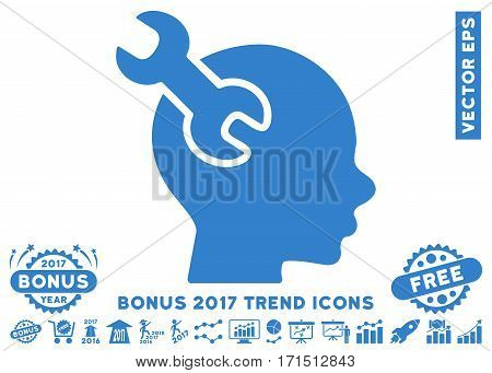 Cobalt Brain Service Wrench icon with bonus 2017 trend design elements. Vector illustration style is flat iconic symbols white background.