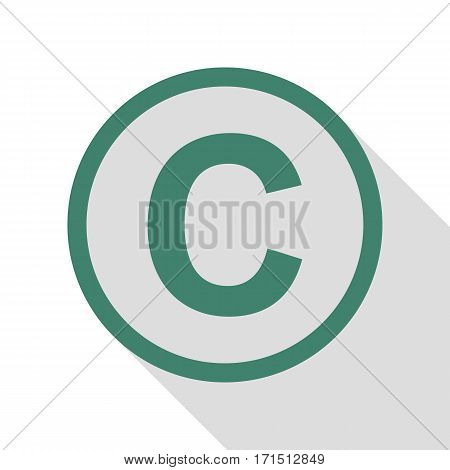 Copyright sign illustration. Veridian icon with flat style shadow path.