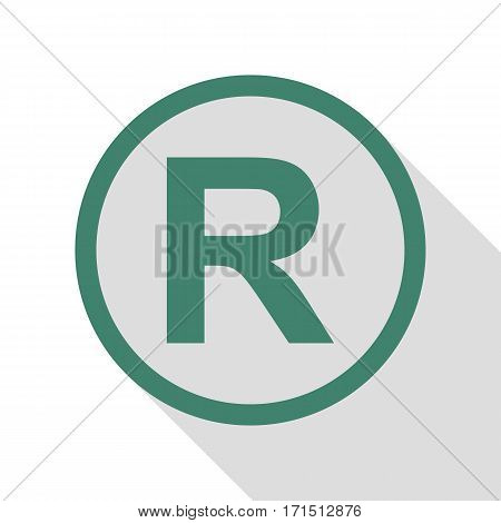 Registered Trademark sign. Veridian icon with flat style shadow path.