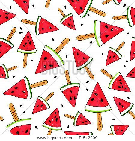Seamless vector pattern of watermelon slices on a stick on a white background