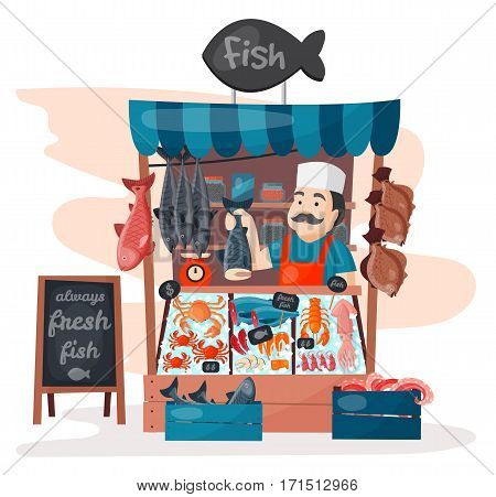 Retro fish street shop store market with freshness seafood in fridge traditional asian meal and man dealer business person meat seller vector illustration. Fishmarket selling menu shelf.