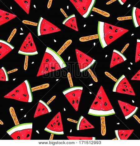 Seamless vector pattern of watermelon slices on a stick on a black background