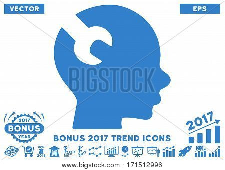 Cobalt Brain Wrench Tool pictogram with bonus 2017 year trend symbols. Vector illustration style is flat iconic symbols white background.