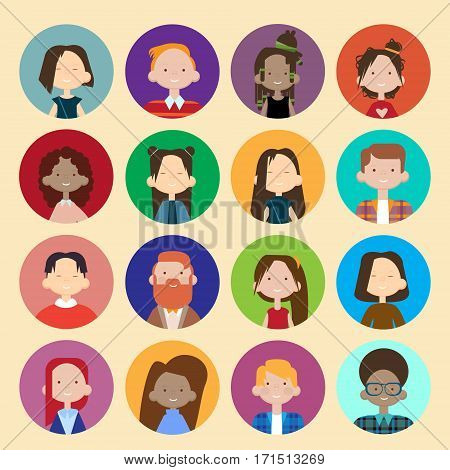 Profile Icon Avatar Image Group Casual People Big Crowd Diverse Ethnic Mix Race Banner Flat Vector illustration