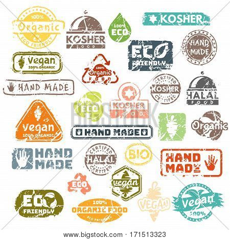 Vector retro teal vintage stamps for quality mark. Premium guarantee old warranty badge. Grunge satisfaction shop tag design. Customer hand made artwork.