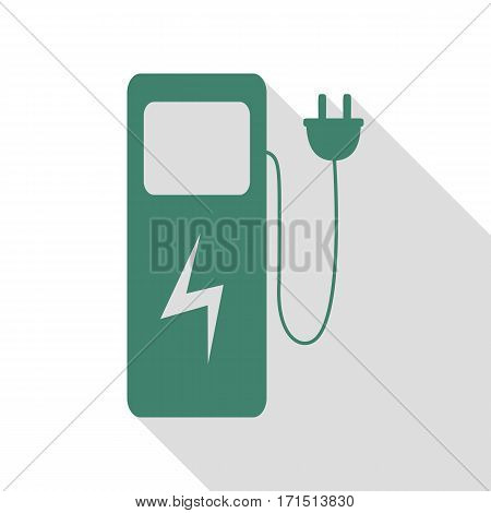 Electric car charging station sign. Veridian icon with flat style shadow path.