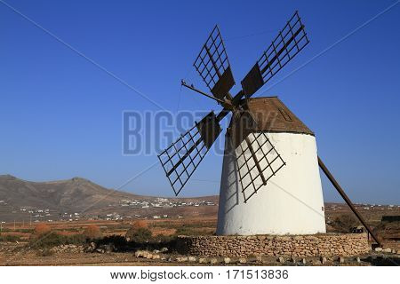 Round Stone Windmill On Fuerteventura