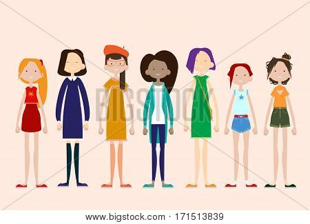 Woman Group Casual People Big Crowd Diverse Ethnic Mix Race Banner Flat Vector illustration