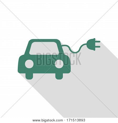 Eco electric car sign. Veridian icon with flat style shadow path.