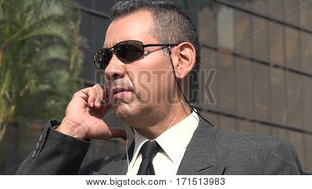 Fbi Agent Or Security Officer Wearing Business Suit