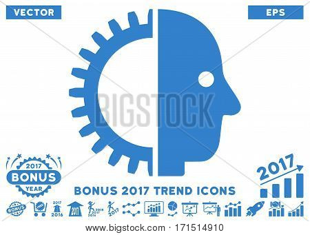 Cobalt Cyborg Head icon with bonus 2017 year trend icon set. Vector illustration style is flat iconic symbols white background.