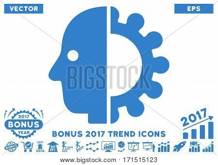 Cobalt Cyborg Head icon with bonus 2017 year trend pictures. Vector illustration style is flat iconic symbols white background.
