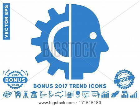 Cobalt Cyborg Head icon with bonus 2017 trend pictures. Vector illustration style is flat iconic symbols white background.