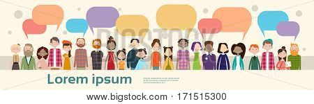 People Group Chat Bubble Communication Mix Race Crowd Social Network Flat Vector Illustration