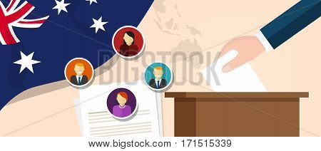Australia democracy political process selecting president or parliament member with election and referendum freedom to vote vector