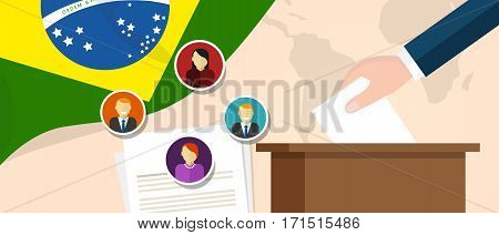Brazil democracy political process selecting president or parliament member with election and referendum freedom to vote vector