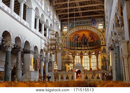 THESSALONIKI, GREECE - SEPTEMBER 3, 2016: People in the Church of Saint Demetrius. It is the main sanctuary dedicated to Saint Demetrius, the patron saint of Thessaloniki