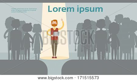 Businessman Spotlight Human Resource Recruitment Candidate, Business People Hire Concept Flat Vector Illustration