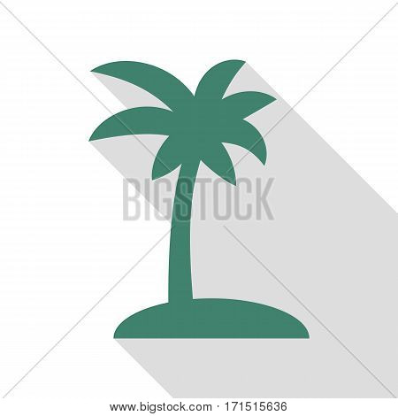 Coconut palm tree sign. Veridian icon with flat style shadow path.