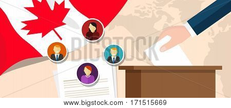 Canada democracy political process selecting president or parliament member with election and referendum freedom to vote vector