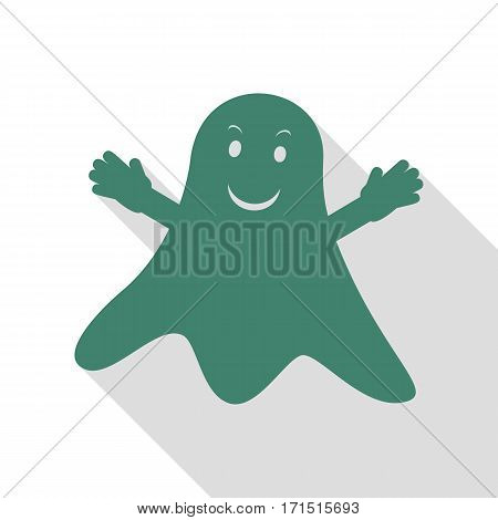 Ghost isolated sign. Veridian icon with flat style shadow path.