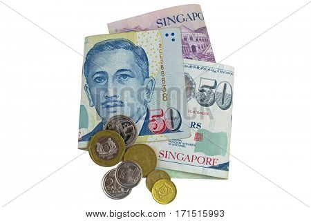 Singapore dollar banknote (SGD) and coins isolated on white background