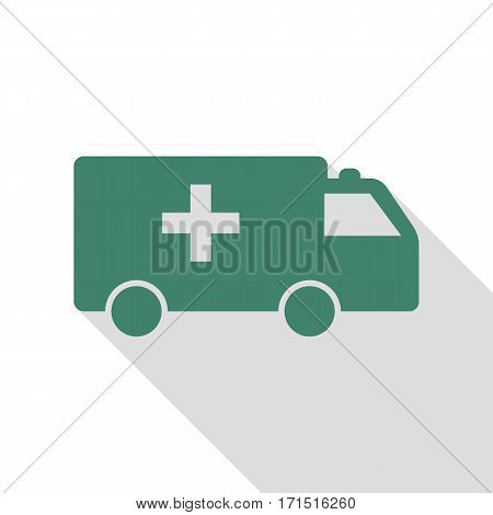 Ambulance sign illustration. Veridian icon with flat style shadow path.