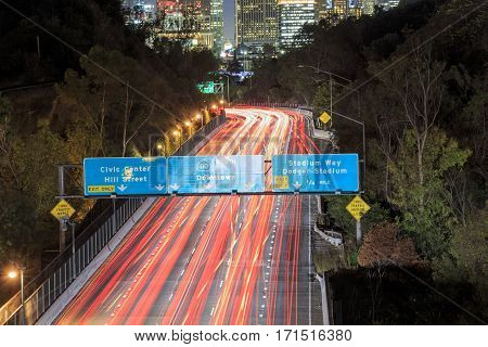 Los Angeles Night Urban Cityscape And 110 Freeway
