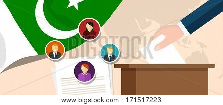 Pakistan democracy political process selecting president or parliament member with election and referendum freedom to vote vector