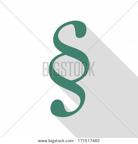 Paragraph sign illustration. Veridian icon with flat style shadow path.