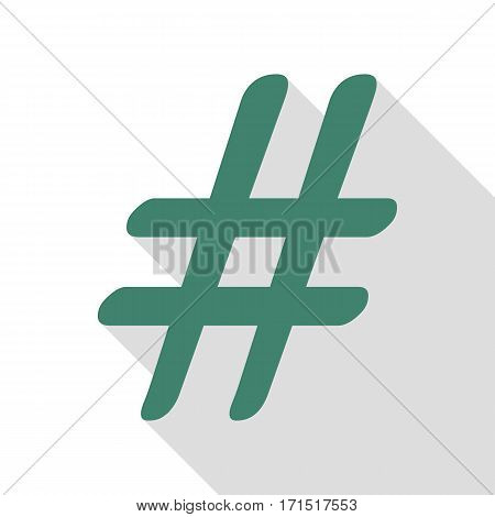 Hashtag sign illustration. Veridian icon with flat style shadow path.