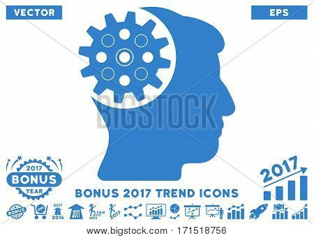 Cobalt Head Gear icon with bonus 2017 trend images. Vector illustration style is flat iconic symbols white background.