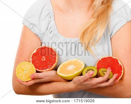 Woman Holding Fruits Kiwi. Orange, Lemon And Grapefruit